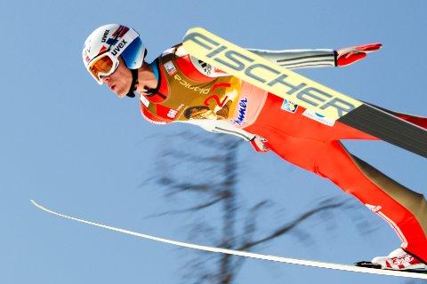 Daniel André Tande i svevet  under World Cup, Planica, Slovenia. Foto: Primoz Lovric / NTB scanpix