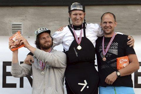 MESTER: Jonny Haugen fikk NM-gull i seniorklassen i  slalåmpadling for kajakk. Han vant foran Dag Sandvik fra Voss Kajakk Klubb og Per Christian Pedersen fra Nidelva Padleklubb.