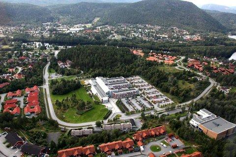 UTVIKLING: Det gamle høyskolebygget på Raumyr, er sentralt i et utviklingsprosjekt i et samarbeid mellom Kongsberg tomteselskap, Statsbygg som eier skolebygget og Kongsberg tomteselskap som eiendomsutvikler. Nylig ble reguleringsplanen vedtatt.
