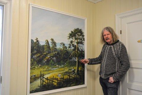 LANDSKAP: Tor Einar har festet mange landskap til lerretet. Bildet er fra Glitre gård på Lågdalsmuseet.