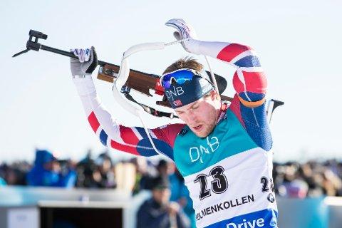 BEDRE MED: Erlend Bjøntegaard gikk et godt taktisk løp på jaktstarten og endte på 12.-plass.