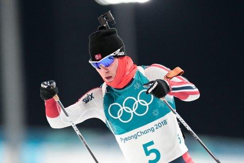 Pyeongchang, Sør-Korea 20180212. Erlend Bjøntegaard under 12,5 km skiskyting jaktstart i Alpensia Biathlon Centre under vinter-OL i Pyeongchang. Foto: Lise Åserud / NTB scanpix