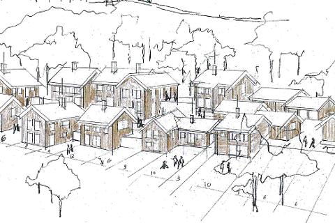 GROVSKISSE: Her er en grovskisse fra 2018 som forteller litt om hvordan Jappe Nielsen Arkitekter tenkte at de nye hyttene på Søre Åsen ved Tunhovd kan bli seende ut.