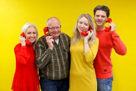 TELEFONEN FRA HAMAR: Ingrid, Atle, Nina og Ola er en del av temaet som skal glede en rekke personer med Telefonen fra Hamar lørdag kveld.