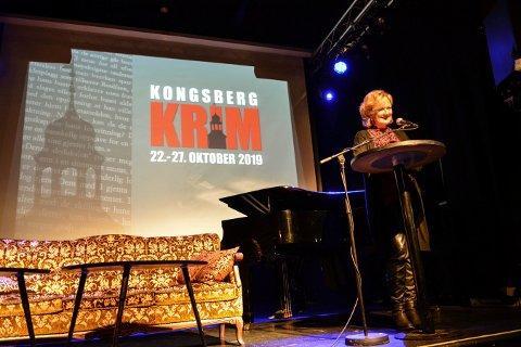 OFFISIELL ÅPNING: Trude Teige erklærte Kongsberg Krim 2019 for offisielt åpnet.