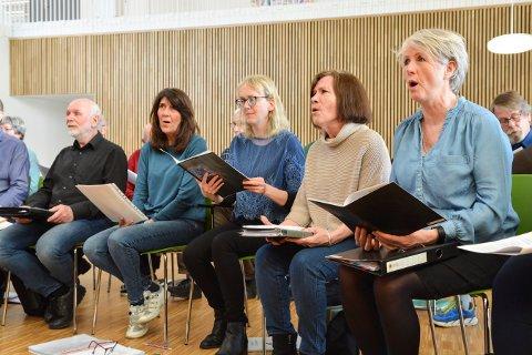 ØVELSE: Kongsberg blandede kor øver til konsert 6. april. Nærmest sitter Kristin Evensen.