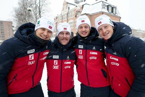 NORGES KVARTETT: Tarjei Bøe (t.h.), Johannes Thingnes Bøe, Erlend Bjøntegaard og Vetle Sjåstad Christiansen skal gå VM-sprinten. Foto: Lise Åserud / NTB scanpix