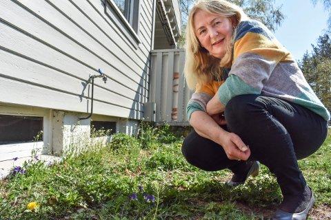 IKKE KLIPP: Rita Eileen Aronsen mener folk må kutte ut plenklipping og heller beholde blomstene som kommer opp, som løvetann og natt og dag, som på bildet.