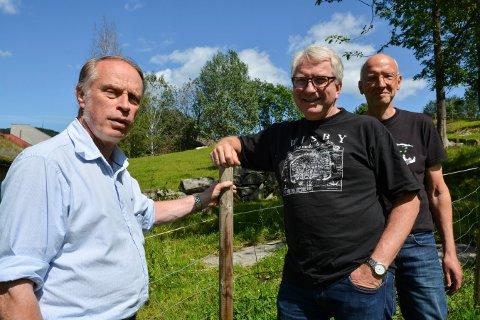 GUIDER: Odd Arne Helleberg (t.v.), Dag Kristoffersen og Ivar Lie skal vise vei i løkkevandringen ved Kjennerudvannet mandag. Tirsdag blir det slåttedugnad på Lågdalsmuseet.