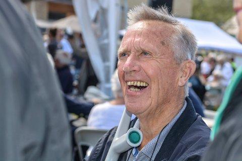 I SLAG: Dagfinn Røraas fra Meheia fikk slått av en prat med mange under Gulljazzen på Skavangertun.