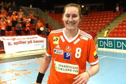 TIL SEMIFINALEN: Ingvild Bakkerud ble toppscorer, da Odense sikret seg semifinaleplass i europacupen.