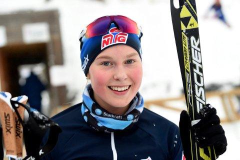 STAFETTMESTER: Frida Tormodsgard Dokken, Svene, gikk førsteetappen på Buskeruds gullag.
