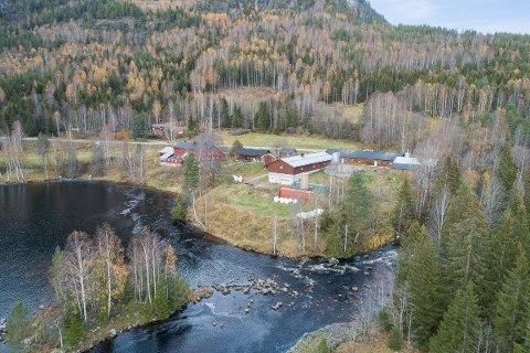Gårdsbruket ligger rett ved Lågen i Veggli.