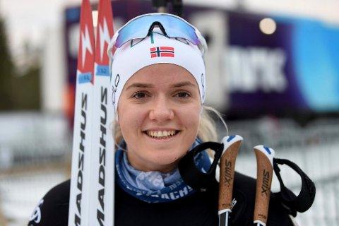 STRÅLENDE FORNØYD: Mari Wetterhus ble nummer åtte på supersprinten i Sandnes. FOTO: OLE JOHN HOSTVEDT