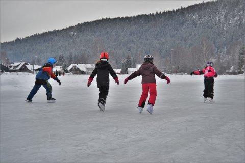 FULL FART: Skøyteisen ved Idrettsparken var helt perfekt 12. januar 2021. Og mange hadde tatt turen, nesten 20 minusgrader til tross.  Foto: Katrine Alexandra Leirmo Heiberg