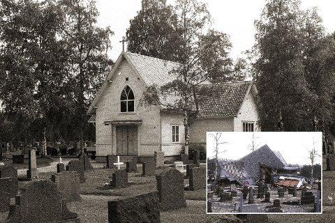 KIRKEGÅRD: Senhøstes i 1905 ble ny kirkegård åpnet på Skytebanen. I dag er den omgitt av bygninger tilhørende Teknologiparken. Kapellet ble revet i 1977, noen år etter at kirkegården i Gomsrud ble åpnet.