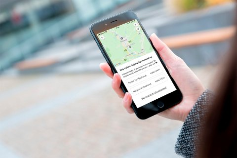 MYE PÅ ETT STED: Nå kan du bestille drosje i Vy-appen.