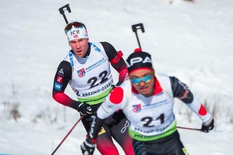 TREDJEMANN: erlend Øvereng Bjøntegaard (bakerst) ble nummer tre på sprinten i IBU-cupen i Slovakia. FOTO: IBU