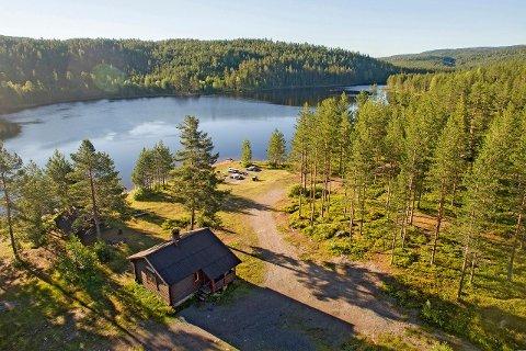 GAMLE ØKSNE: Denne tømmerhytta ligger ved nordenden av Øksnevannet i Kongsberg. Her får du ett soverom, men innlagt vann og strøm får du ikke.