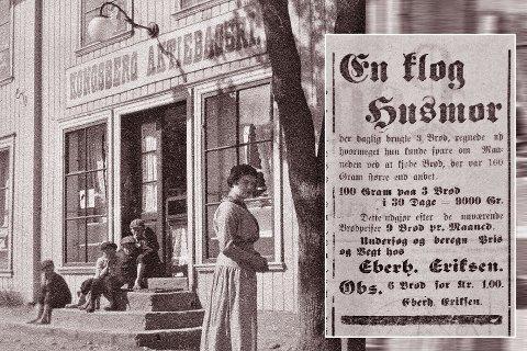 BRØDPRISENE: Det var mange bakere på Kongsberg før i tiden, og kamp om kundene da også. Kongsberg Aktiebakeri ble opprettet av våpenarbeider i 1892 fordi de syntes brødene var for dyre, og Eberh. Eriksen solgte seks brød for ei krone i 1909.