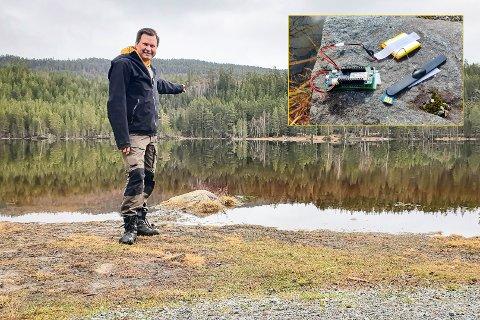 PETTER-SMART: Petter Arne Mikalsens snødybdemåler traff blink blant hyttefolket som lurer på hvor mye snø det til enhver tid er på hyttetaket. Nå bryner han seg på badevann i Kongsberg-området.