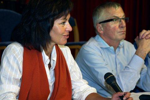 ULIKE SYN: Tonje Evju (Ap) og Søren Falch Zapffe (H) hadde nokså ulike syn på den økonomiske situasjonen i Lier kommune under budsjettdebatten.