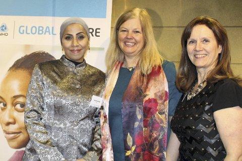 Feiret: Walaa Abuelmagd (t.v.) feiret nylig avslutningen av et talentprogram i regi av NHO – her sammen med sin mentor, Anne Lebesby Høeg, market access director i MSD Norge AS, og Torhild Hallre (t.h.), prosjektleder for Global Future.foto: Anne Birgitte Hjelseth, NHO
