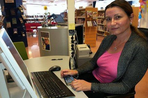 Siri Wigemyr, bibliotekar på Lierbyen bibliotek.