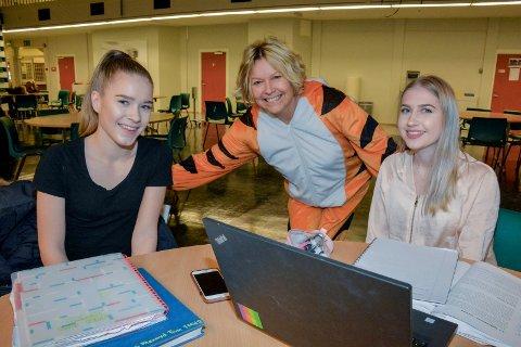 """HALLOOO! Karriereveileder Sabine Berg gjør innimellom som Tigergutt i Hundremeterskogen - """"bumper"""" rundt for å """"vekke"""" elevene, og få dem til å tenke på videre veivalg."""