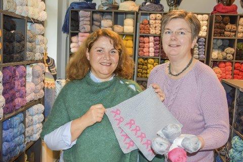 Vellykket: Gro Oftedal Halsen (t.v.) og Anne-Grethe Falling med gryteklutene som har sørget for 15.000 kroner til Kreftforeningen.