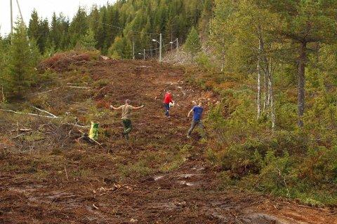 JEVNER UT SPORENE: Kristian Lie, Pernille Wiiger Opsahl og Terje Løitegård hadde jobben med å jevne ut sporene etter gravemaskinen, og så gressfrø i den nye skitraseen.