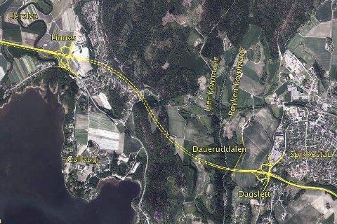Utsetter: Kartet viser traseen for prosjektet Dagslett - Linnes som er foreløpig utsatt i påvente av nye økonomiske bregninger.