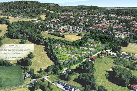 FORESLÅTT VRAKET: Dette prosjektet på Tranby er et av 40 innspill til nye boligprosjekter som rådmannen foreslår at avvises fra det videre arbeid med kommuneplanen. Som skissen viser, ligger de planlagte boligene midt i bildet.