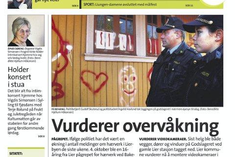 For Ti år siden: Slik så førstesiden til Lierposten ut 11. oktober 2007. Da handlet hovedopplaget om stadig flere tilfeller av hærverk i Lierbyen.