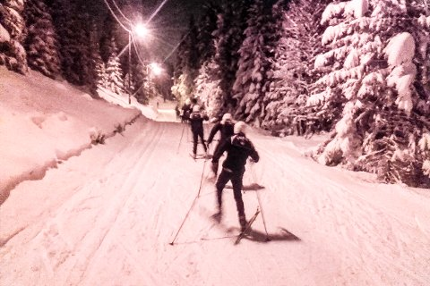 Flotte forhold: Etter de siste dagers snøfall er det nå kjørt opp løyper flere steder i Lier. Aller best er det foreløpig i Eiksetra-området. Dette bildet er tatt tirsdag kveld, da skigruppene i Lier IL og Sjåstad/Vestre Lier hadde sin første trening på snø denne sesongen.