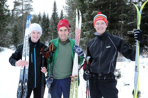 God glid og godt feste: Egge-gutta Per Oscar Heiberg, Håkon Narjord og Bjørn Erik Heiberg var strålende fornøyd med skituren 1.juledag fra Kanada. - Det var god glid og godt feste, selv med ski fra 80-tallet, sa Bjørn Erik Heiberg.