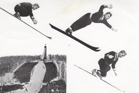 Liung i svevet: Hans Bjørnstad fra Ski- og Ballklubben Drafn, verdensmester i Lake Placid i 1950. Illustrasjon fra «Før og etter Wirkola2, Gyldendal Norsk Forlag