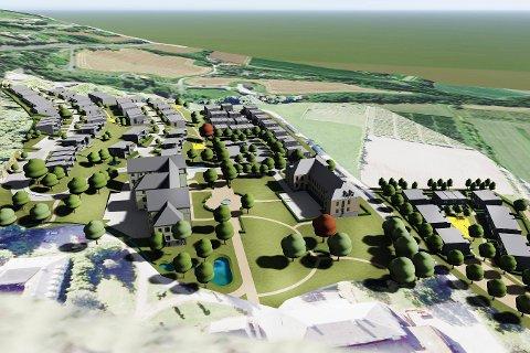 FRA SYKEHUS TIL BOLIGOMRÅDE: Skissen viser området sett fra nord der vi blant annet ser store parkområdene som er tenkt anlagt mellom de framtidige leilighetsbyggene C og F.