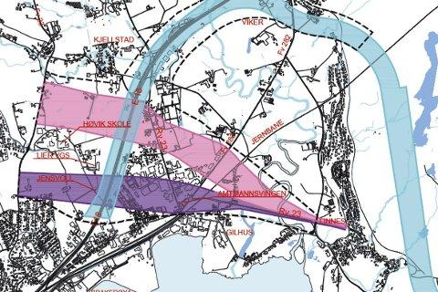 2017: Den omtalte «blå korridoren» viser hvilke område SVV planlegger, med tunnelportalen og trasé på sørsiden av Reistad.