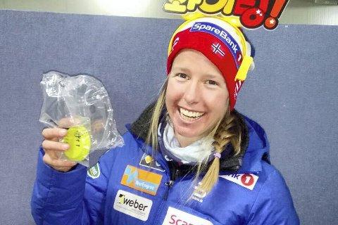 FERSK LIUNG: Verdenscupløper i langrenn, Silje Øyre Slind har bosatt seg i Lierbyen. Her er hun på vei til dopingkontroll etter annenplassen i Prøve-OL i Peyong Chang.