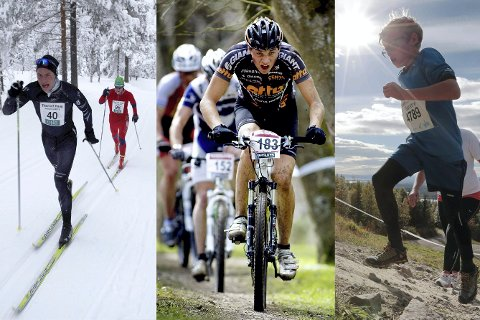 Ikke bare ski: I 2018 blir tradisjonelle Hauern et trippel-løp. I tillegg til ski, vil deltakerne stille til start både med sykkel og løpesko. arkivbilde