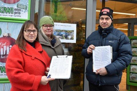Listene fylles: F.v. Kristin Kornerud, Tone Birgitte Bergflødt og Bjarne Rud har første underskriftskift ved Kiwi i Lierbyen, og det er mange som ønsker å skrive navnet sitt på lista mot Stena-utbygging på Lyngås.