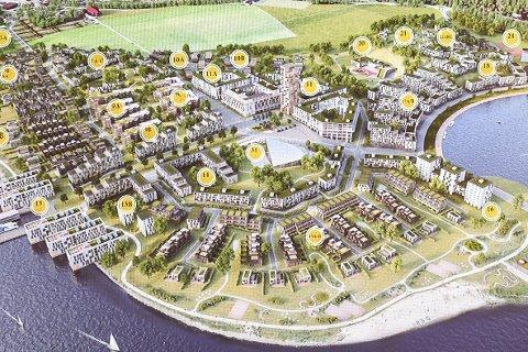 NYE IDEER: Slik ser Gullaug Utvikling for seg at utbyggingen på halvøya kan bli. I kommuneplanutvalget fikk MDG imidlertid flertall for å utrede et alternativ som natur- og friluftsområde med moderat utbygging. Skissen er hentet fra en presentasjon til Gullaug Utvikling.