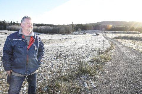 NYDYRKET: Torbjørn Gravdal peker blant annet på at det er opparbeidet over 40 mål nydyrka jord på gården. Det nye området ligger i skogen i bakkanten av bildet.