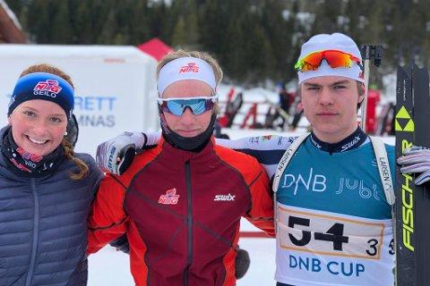 NM-GULL: Mats Øverby (til høyre) og Vetle Rype Paulsen sikret seg NM-gull i mix-stafett sammen med Geilos Åsne Skrede.