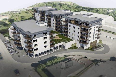 BYGGES: Slik ser de nye eierne for seg at det nye boligprosjektet skal bli, med næring og 65 leiligheter.