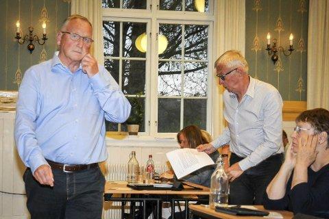ENIGE- ELLER? Gunnar Nebell (Ap – til venstre) manet til enighet om trasévalget, mens Søren Falch Zapffe (H) påpeker imidlertid at han er tvilende til realismen i det.FOTO: SVEIN HELGE TORGERSEN