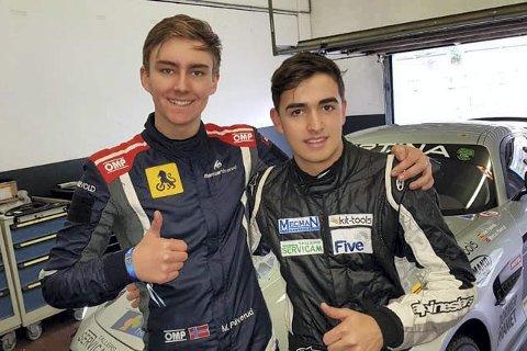 Sterk duo: Marcus Påverud kjører denne sesongen for Leipert motorsport i GT4-serien. I denne serien deler to førere på en bil. Påverud deler Mercedezen med jevngamle Ivan Pareras fra Spania.foto: Privat