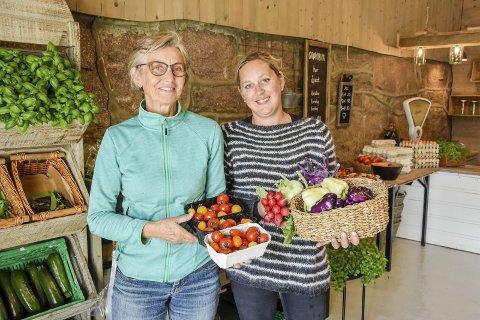 Farger og smak: Mor og datter Kirsten Ravnsborg Justad (t.v.) og Ragne Helene Ravnsborg tar imot kunder i Grøntbua.