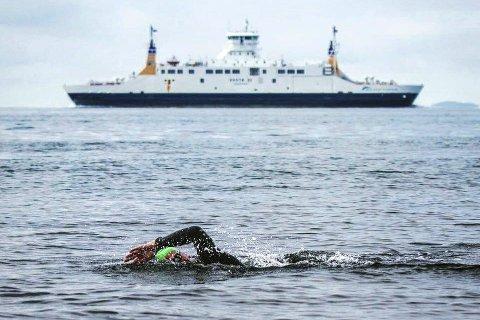 For egen maskin: Ottar Røed var en av 57 svømmere som droppet Bastøferja, og svømte fra Horten til Moss i Open water-konkurransen sist søndag. Dette var fjerde gang Tranbymannen deltok i konkurransen.